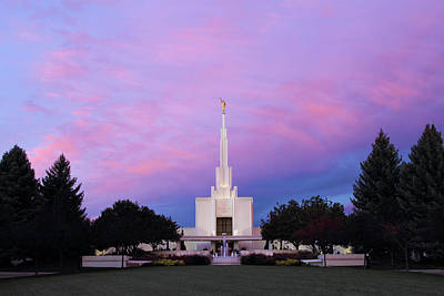 Denver Lds Temple At Sunrise Art Print