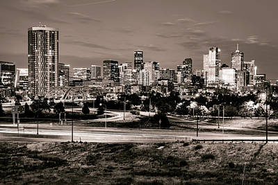 Photograph - Denver Mile High Skyline - Sepia by Gregory Ballos