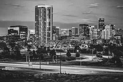 Photograph - Denver Morning Skyline - Black And White by Gregory Ballos