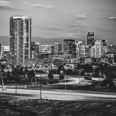 Photograph - Denver Morning Skyline - Black And White Square Format by Gregory Ballos