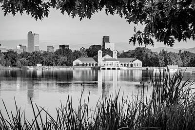 Photograph - Denver Morning Skyline City Reflections - City Park View - Black And White by Gregory Ballos