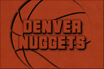 Denver Nuggets Leather Art Art Print