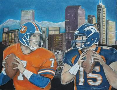 Tebow Painting - Denver Rookies by Demitrius Roberts