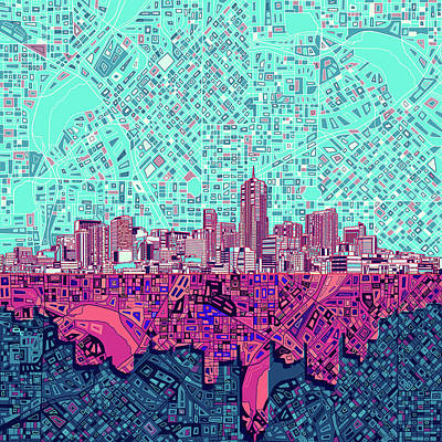 Abstract Skyline Royalty-Free and Rights-Managed Images - Denver Skyline Abstract 7 by Bekim Art