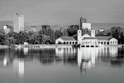 Photograph - Denver Skyline And City Park Lake Reflections - Black And White by Gregory Ballos