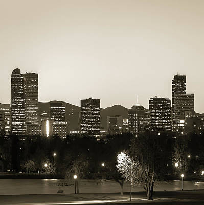 Photograph - Denver Skyline And Rocky Mountains - Square Art Sepia by Gregory Ballos