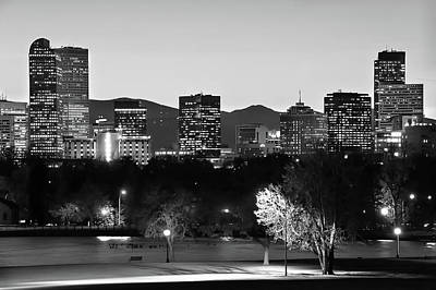 Photograph - Denver Skyline At Dawn - Black And White by Gregory Ballos
