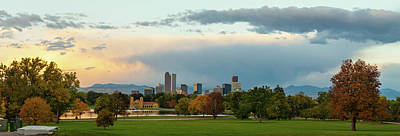 Photograph - Denver Skyline Autumn Sunrise Panorama by Gregory Ballos