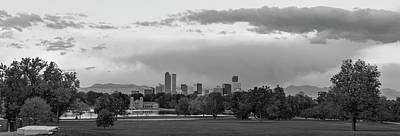 Photograph - Denver Skyline Autumn Sunrise Panorama In Black And White by Gregory Ballos