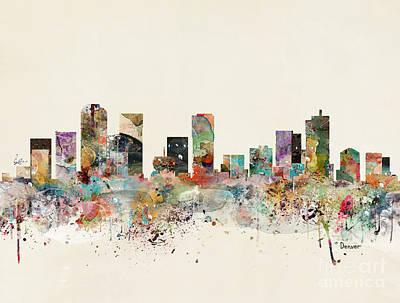 Painting - Denver Skyline by Bleu Bri