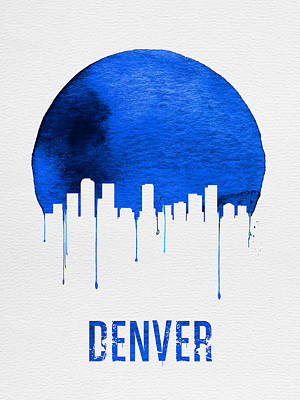Denver Skyline Wall Art - Painting - Denver Skyline Blue by Naxart Studio