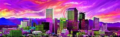 Carolyn Anderson Digital Art - Denver Skyline by Carolyn Anderson