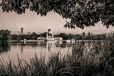 Photograph - Denver Skyline City Park Reflections At Sunrise - Sepia by Gregory Ballos