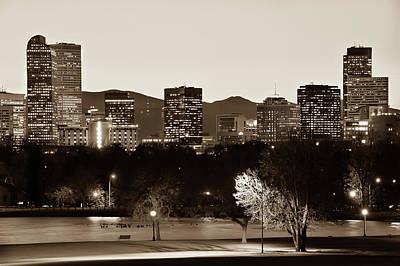 Photograph -  Denver Skyline - City Park View - Sepia by Gregory Ballos