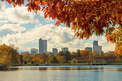 Denver Skyline Photograph - Denver Skyline Fall Foliage View by James BO Insogna