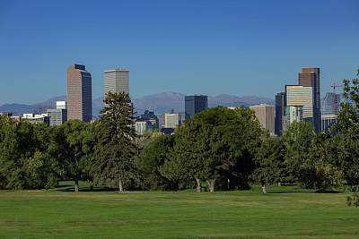 Denver Skyline Photograph - Denver Skyline From City Park Golf Course by Bridget Calip