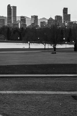 Photograph - Denver Skyline In The Distance - Black-white by Gregory Ballos