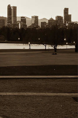 Photograph - Denver Skyline In The Distance - Sepia by Gregory Ballos
