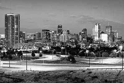 Photograph - Denver Skyline - Mile High City Monochrome by Gregory Ballos