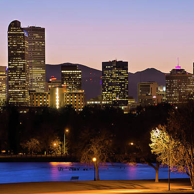 Photograph - Denver Skyline Mountain Landscape 1x1 by Gregory Ballos