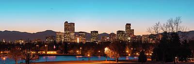 Photograph - Denver Skyline Night Panorama - Colorado Photography 2 by Gregory Ballos