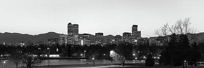 Photograph - Denver Skyline Night Panorama - Colorado Photography Black And White by Gregory Ballos