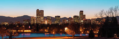 Photograph - Denver Skyline Night Panorama - Colorado Photography by Gregory Ballos