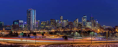 Denver Skyline Photograph - Denver Skyline Panorama At Blue Hour by Bridget Calip