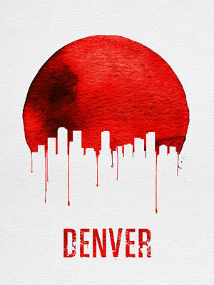Denver Skyline Wall Art - Painting - Denver Skyline Red by Naxart Studio