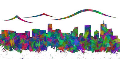 Abstract Skyline Digital Art Rights Managed Images - Denver Skyline Silhouette I Royalty-Free Image by Ricky Barnard