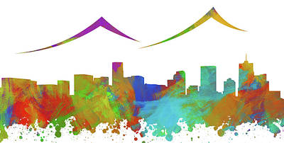 Abstract Skyline Digital Art Rights Managed Images - Denver Skyline Silhouette III Royalty-Free Image by Ricky Barnard