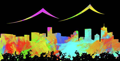 Abstract Skyline Digital Art Rights Managed Images - Denver Skyline Silhouette IV Royalty-Free Image by Ricky Barnard
