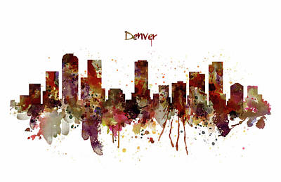 Mixed Media - Denver Skyline Silhouette by Marian Voicu