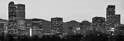 Photograph - Denver Skyline Skyscraper Panorama - Black And White by Gregory Ballos