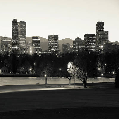 City Scene Photograph - Denver Skyline Square Format - Monochrome by Gregory Ballos