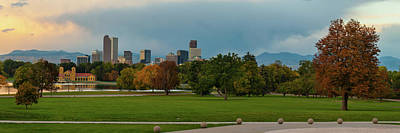 Photograph - Denver Skyline Sunrise Panorama In Autumn by Gregory Ballos