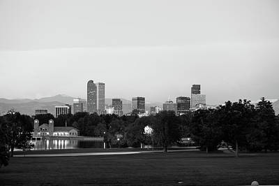 Photograph - Downtown Denver - Skyline Cityscape In Black And White by Gregory Ballos