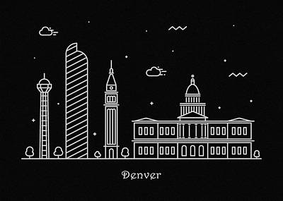 Abstract Landscape Drawing - Denver Skyline Travel Poster by Inspirowl Design