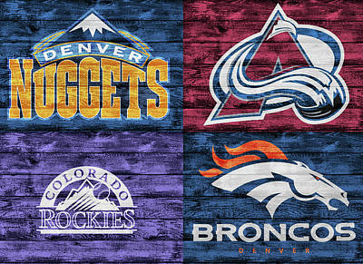 Mixed Media - Denver Sports Teams Barn Door by Dan Sproul
