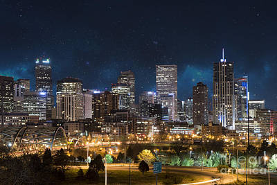 Denver Skyline Photograph - Denver Under A Night Sky by Juli Scalzi