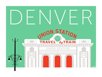 Digital Art - Denver Union Station/aqua by Sam Brennan