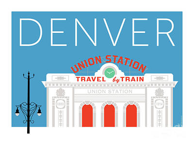 Digital Art - Denver Union Station/blue by Sam Brennan