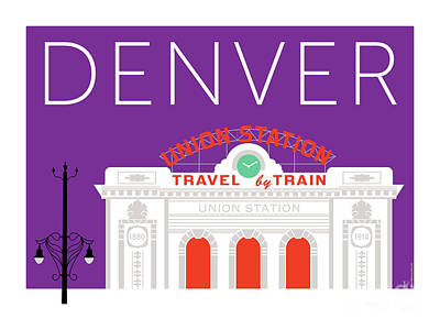 Digital Art - Denver Union Station/purple by Sam Brennan
