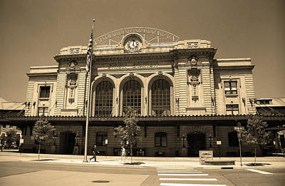 Art Print featuring the photograph Denver - Union Station Sepia 5 by Frank Romeo