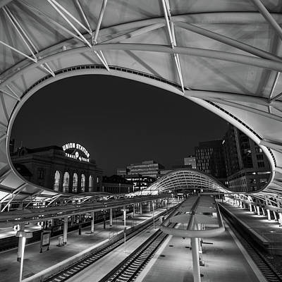 Photograph - Denver Union Station - Square Black And White by Gregory Ballos