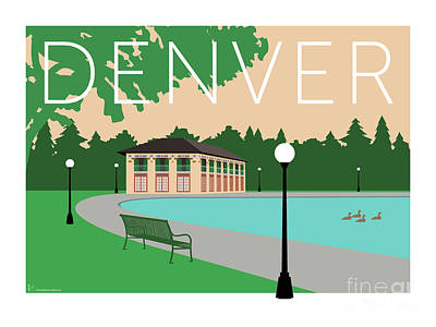 Digital Art - Denver Washington Park/beige by Sam Brennan