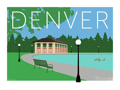 Digital Art - Denver Washington Park/blue by Sam Brennan