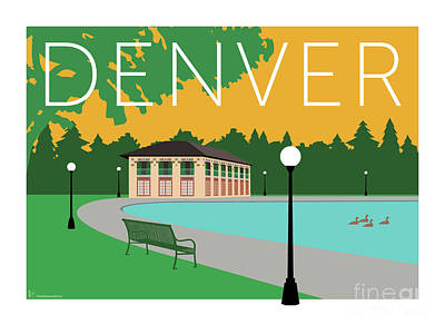 Digital Art - Denver Washington Park/gold by Sam Brennan