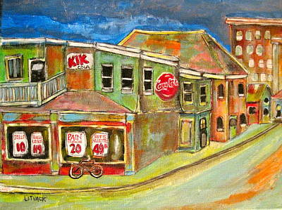 Handystore Painting - Depanneur Meets The Present by Michael Litvack