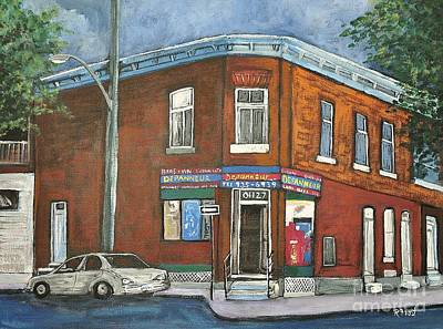 Montreal Buildings Painting - Depanneur Surplus De Pain Rue Charlevoix by Reb Frost